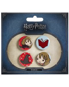 Harry Potter Chibi Button Badge Set on Blue Packaging- BBC0090-BLU