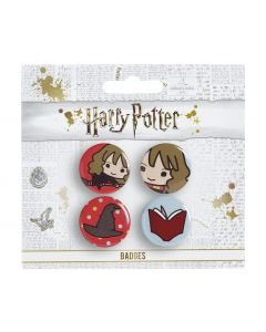Harry Potter Chibi Button Badge Set 2 Hermione/Sorting Hat/ Book BBC0090