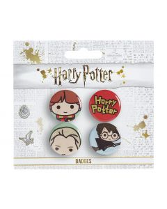 Harry Potter Chibi Button Badge Set 3 Ron/ Draco/ Harry Broom/ Logo BBC0091
