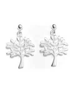 Sterling Silver Ball Bead Stud Drop Tree of Life Earrings- RBE026