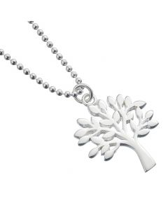 Sterling Silver Ball Bead Necklace with Tree of Life Charm