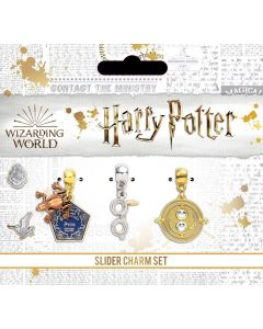 Official Harry Potter Silver Plated Charm Set including Chocolate Frog, Glasses & Time Turner charms HP0077
