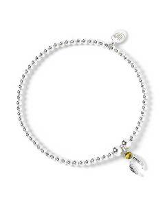 Harry Potter Sterling Silver Ball Bead Bracelet with Snitch Charm & Swarovski Crystal Elements - HPSB004