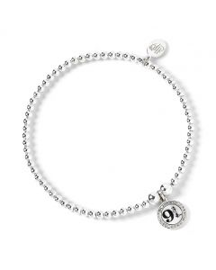 Harry Potter Sterling Silver Ball bead Bracelet with 9 3/4 Charm with Swarovski Crystal Elements HPSB011