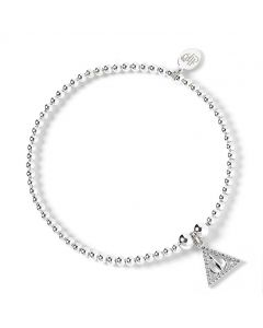 Harry Potter Sterling Silver Ball Bead Bracelet & Deathly Hallow Charm with Swarovski Crystal Elements