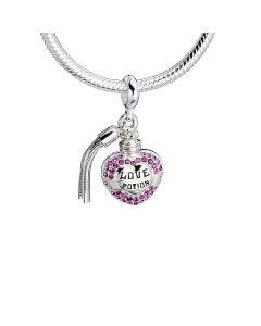 Sterling Silver Love Potion slider charm with Swarovski Crystal Elements - HPSC053-SC