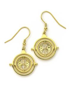 Official Harry Potter Time Turner Sterling Silver, Gold Plated Drop Earrings embellished with Swarovski® Crystals