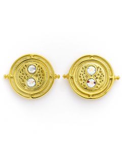 Official Harry Potter Time Turner Sterling Silver, Gold Plated Stud Earrings embellished with Swarovski® Crystals