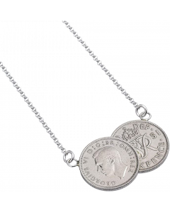 Double Silver King George VI Sixpence Coin Necklace KG1951