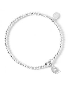 Sterling Silver Ball Bead Bracelet with 'Q' Initial