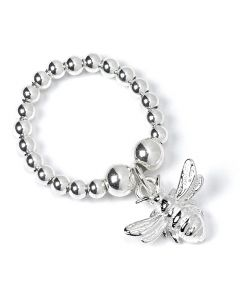 Sterling Silver Ball Bead Ring with Bee Charm