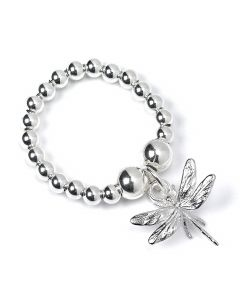 Sterling Silver Ball Bead Ring with Dragonfly Charm
