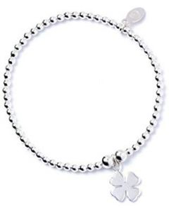 Sterling Silver Ball Bead Ankle Bracelet with Four Leaf Clover Charm