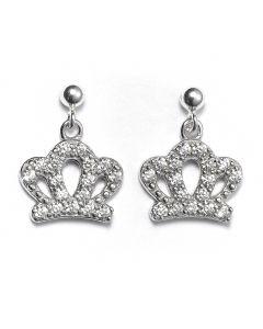 Sterling Silver Ball Bead Stud Drop Crystal Crown Earrings