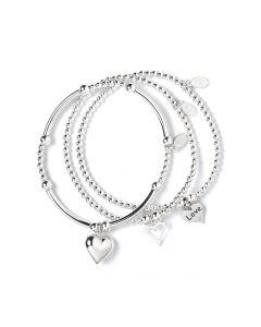 Set of 3 Sterling Silver Ball Bead Bracelets: Love, Puffy & Open Heart