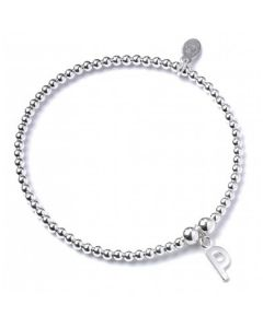 Sterling Silver Ball Bead Bracelet with 'P' Initial - RB017