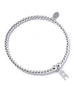 Sterling Silver Ball Bead Bracelet with 'R' Initial - RB017