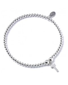 Sterling Silver Ball Bead Bracelet with 'T' Initial - RB017