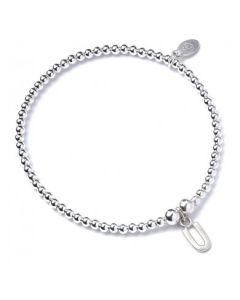 Sterling Silver Ball Bead Bracelet with 'U' Initial - RB017