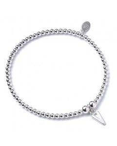 Sterling Silver Ball Bead Bracelet with 'V' Initial - RB017