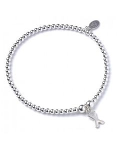 Sterling Silver Ball Bead Bracelet  with 'X' Initial - RB017