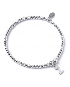 Sterling Silver Ball Bead Bracelet  with 'Z' Initial - RB017