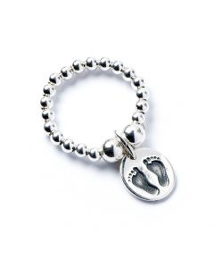 Sterling Silver Ball Bead Ring with Footprints Charm