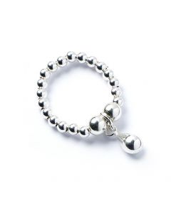 Sterling Silver Ball Bead Ring with Teardrop Charm