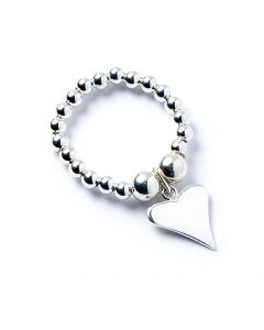 Sterling Silver Ball Bead Ring with Funky Heart Charm