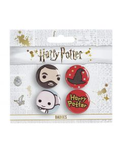Harry Potter Cutie Button Badge Set 4 Hagrid/ Hat/ Dobby BBC0092