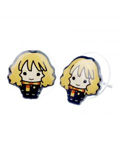 Hermione Granger Chibi Stud Earrings on blue packaging-WEC084-BLU
