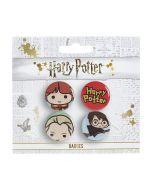 Harry Potter Chibi Button Badge Set 3 Ron/ Draco/ Harry Broom/ Logo BBC0091
