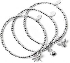 Sterling Silver Ball Bead Set of 3 Bracelets with Bee, Beetle and Dragonfly Charms