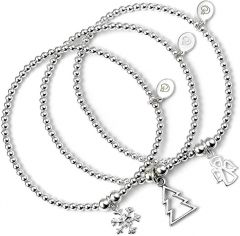 Sterling Silver Ball Bead Set of 3 Bracelets with Snow Flake, Christmas Tree and Angel Charms