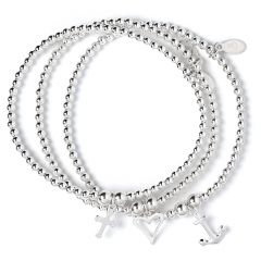 Set of 3 Sterling Silver Ball Bead Bracelets: Heart, Anchor & Cross Charms Symbolising Love, Hope & Charity