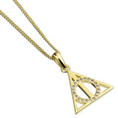 Official Harry Potter Deathly Hallows Gold Necklace Embellished with Swarovski® Crystals