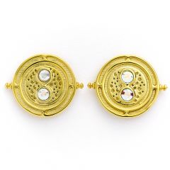 Official Harry Potter Time Turner Sterling Silver, Gold Plated Stud Earrings with Swarovski Crystal Elements