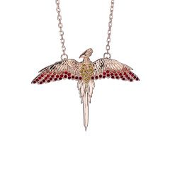 Official Harry Potter Sterling Silver Rose Gold Plated Fawkes The Phoenix Necklace with Swarovski® Crystals Elements