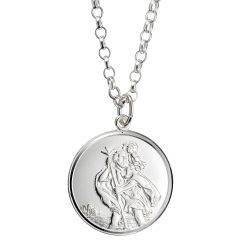 Sterling Silver Large St. Christopher coin necklace-RBN078