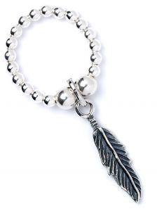 Sterling Silver Ball Bead Ring with Feather Charm