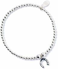 Sterling Silver Ball Bead Ankle Bracelet with Lucky Horseshoe Charm