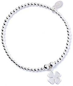 Sterling Silver Ball Bead Bracelet with Four Leaf Clover Charm