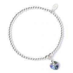 Sterling Silver Ball Bead Bracelet with Vitrial Light Swarovski Crystal Heart