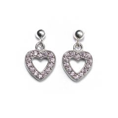 Sterling Silver Ball Bead Stud Drop Pink Crystal Heart Earrings