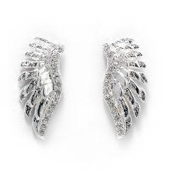 Sterling Silver Angel Wing Crystal Stud Earrings