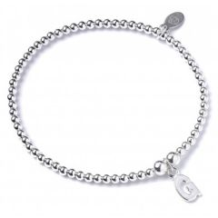 Sterling Silver Ball Bead Bracelet with 'G' Initial - RB017