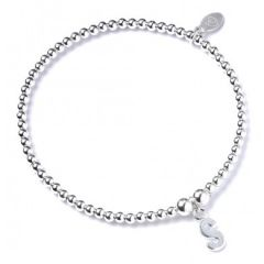 Sterling Silver Ball Bead Bracelet with 'S' Initial - RB017