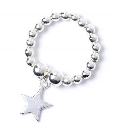 Sterling Silver Ball Bead Ring with Star Charm