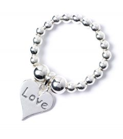Sterling Silver Ball Bead Ring with Love Heart Charm