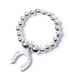 Sterling Silver Ball Bead Ring with Lucky Horseshoe Charm